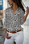 Summer Autumn Floral Print Chiffon Blouse Casual Plus Size Tops V-neck Long Sleeve Slim Shirts
