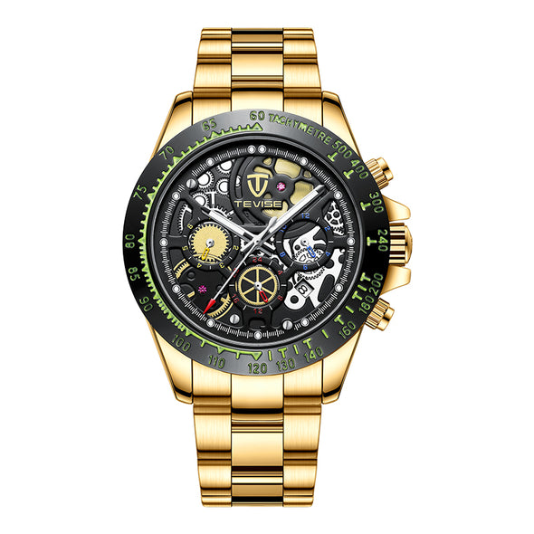 New TEVISE Fashion Men Watch Waterproof Automatic Mechanical Wrist Wristwatch Gold Stainless Steel Male Clock Relogio Masculino - BC&ACI