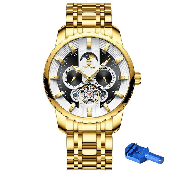 New TEVISE Watch Automatic Tourbillon Mens Watch Moon Phase - BC&ACI
