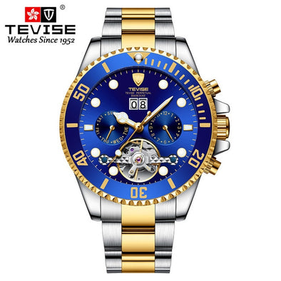 New Tevise Luxury Fashion Brand Mechanical Watch Man Automatic Tourbillon Gold Watches Casual Waterproof Masculino Relogio - BC&ACI