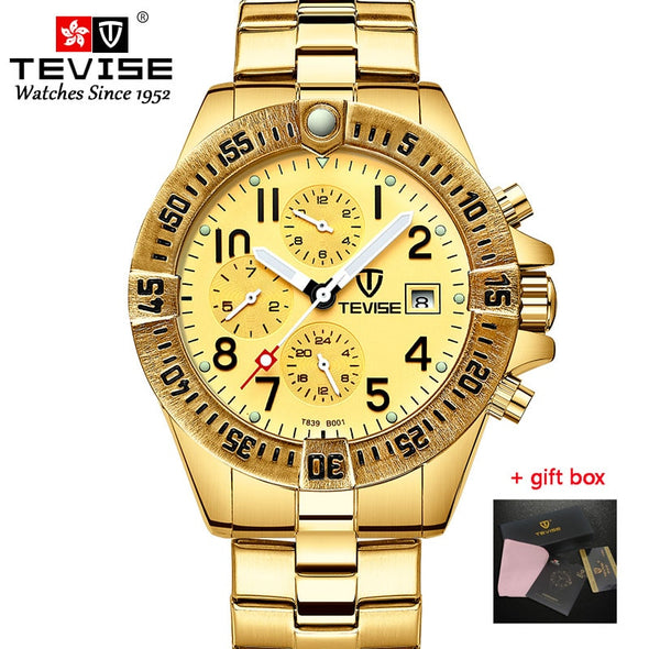 Tevise Men's Watches Functional Dial Automatic Mechanical Watches Luxury Golden Wristwatch For Male Gold Watch Relogio Masculino - BC&ACI