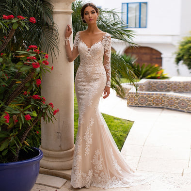New Champagne Mermaid Wedding Dresses Illusion Long Sleeves V-neck Lace Applique Backless - BC&ACI