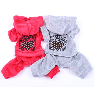 Velvet Dog Cat Leisure Hoodie Sweater Heart Crown Design Pet Puppy Jumpsuit Coat