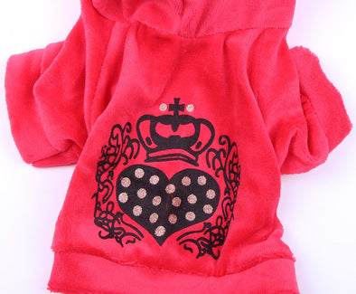 New Velvet Dog Leisure Hoodie Sweater Heart Crown Design Jumpsuit Coat - BC&ACI