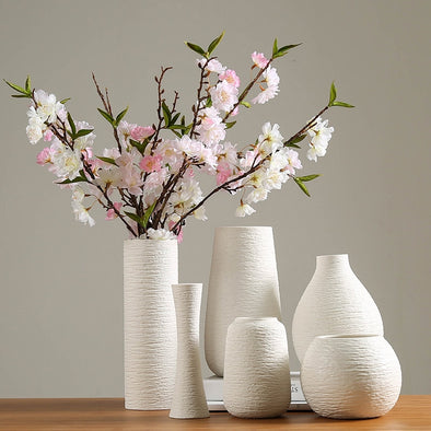 White Vase Ceramic Vase Home Decoration Accessories Dry Flower Modern Minimalist - BC&ACI