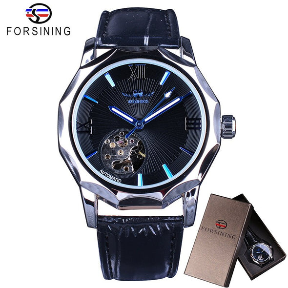 New Winner Blue Ocean Geometry Design Transparent Skeleton Dial Mens Watch Top Brand Luxury Automatic Fashion Mechanical Watch - BC&ACI