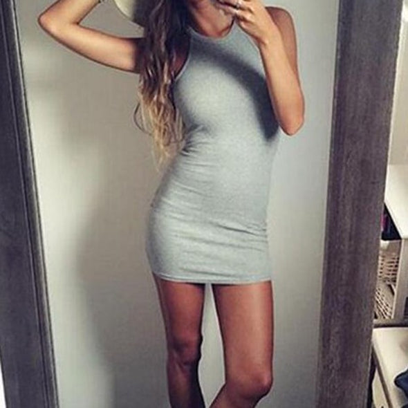 New Women Bandage Bodycon Tank Sleeveless Halter Neck Sexy Party Short Dress Solid Hip Dress  Slim Fit Dress