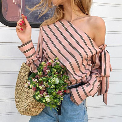 Women One Shoulder Tops Striped Long Sleeve Pullover Bow Casual Elegant Office Ladies blouse - BC&ACI