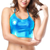 Women Shiny Wetlook Patent Leather Crop Top Sleeveless Spaghetti Strap Backless Sexy