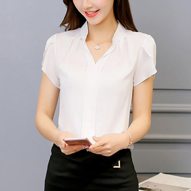 Women Shirt Chiffon Blouse Femininas Tops Short Sleeve Elegant Ladies Formal Office Blouse