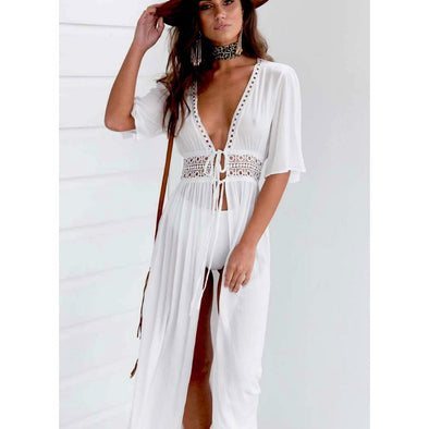 Women Summer Bikini Boho Beach Dress Vestidos Beachwear Swimwear Kaftan Split Deep V - BC&ACI