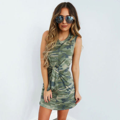 Women Summer Camo Sleeveless Party Dresses Tunic Casual Beach Mini Dress Long Tops - BC&ACI