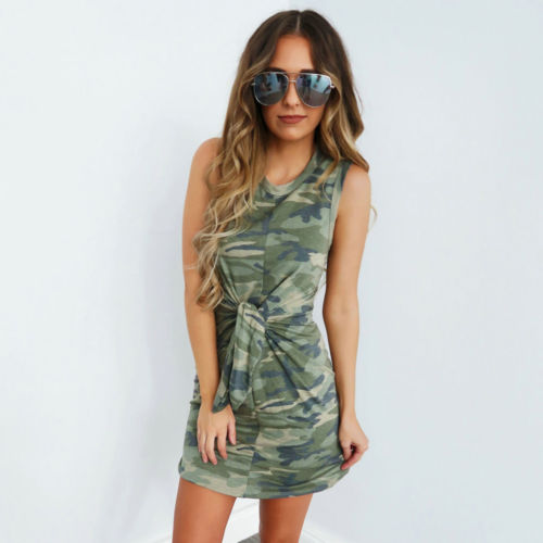 Women Summer Camo Sleeveless Party Dresses Tunic Casual Beach Mini Dress Long Tops