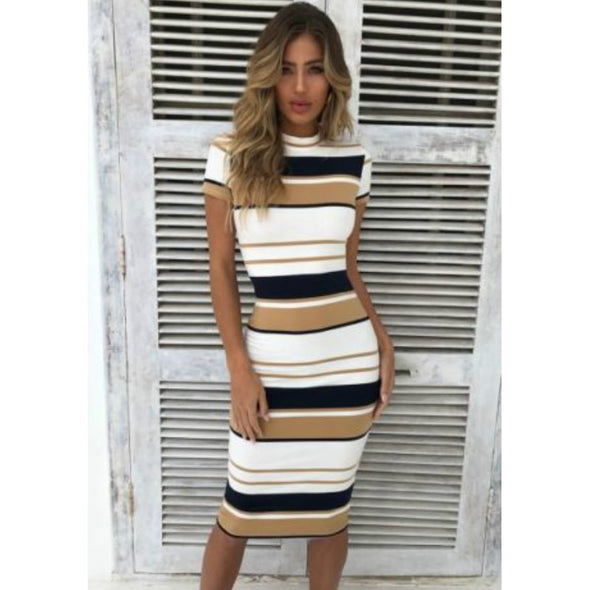 Women Summer Stripe Bodycon Dress Vestidos Short Sleeve Ladies Knee Length Dress - BC&ACI