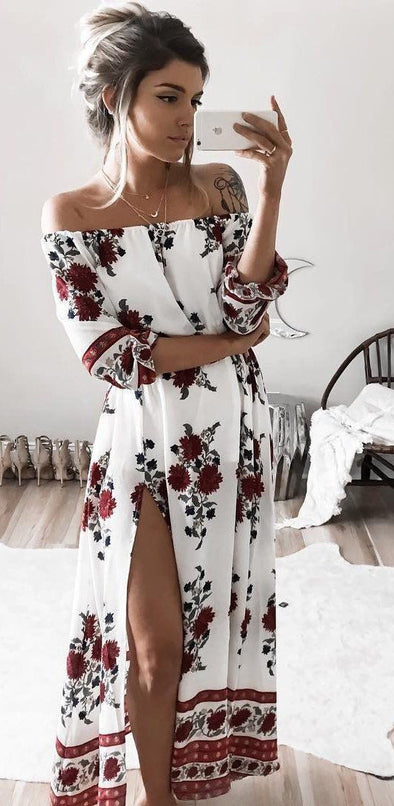 Women Summer Vintage Boho Floral Dresses Sexy Slash Neck Split Long Evening Party Beach