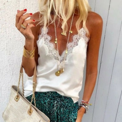 Women Tanks Silk Satin Lace Strap Cros Tops Shirt Vest Tank Loose Blouse