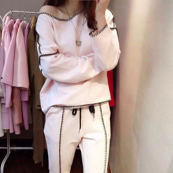 Women's Sweatshirt+Pants 2019 Spring Lady Tracksuit Lock Edge 2 - BC&ACI