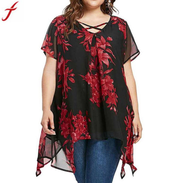 New Women tops 5xl Summer Front  Criss Cross Floral Chiffon Blouse - BC&ACI