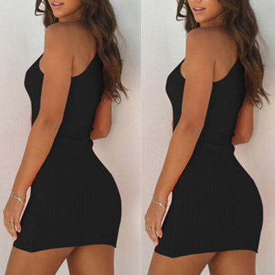 Womens Sexy Summer Sleeveless bodycon Dress Elegant bandage Short Knitted SunDress - BC&ACI