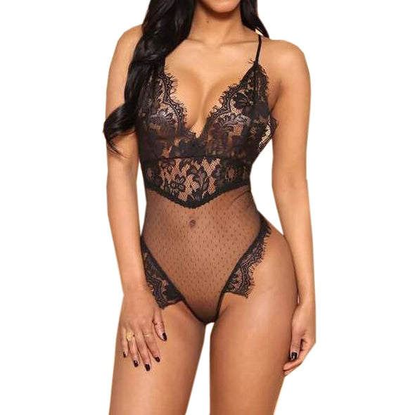 Womens Strappy Plunge V Neck Full Lace Backless Bodysuit Bodycon Tops Sheer - BC&ACI