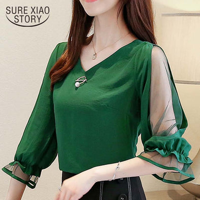 Womens tops and blouses 2019 chiffon blouse ladies tops Beading Solid V-Neck korean