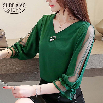 Womens tops and blouses 2019 chiffon blouse ladies tops Beading Solid V-Neck korean - BC&ACI