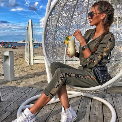 XUANSHOW Tracksuit Women Fashion Cotton Casual Sequin Sportswear Suit Zipper