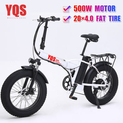 YQS New 500W 40KM/h snow mountain electric bike 20inch 4.0 fat tire ebike - BC&ACI