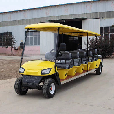 New Yellow Color 4 Wheels 10 Seater Passengers Electric  Battery Powered Tourist Bus Club Golf Cart - BC&ACI