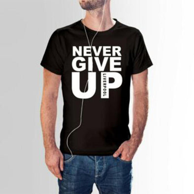 New ZACOO Men  Summer Casual NEVER GIVE UP Letter Printing Short Sleeve Loose T-shirt - BC&ACI