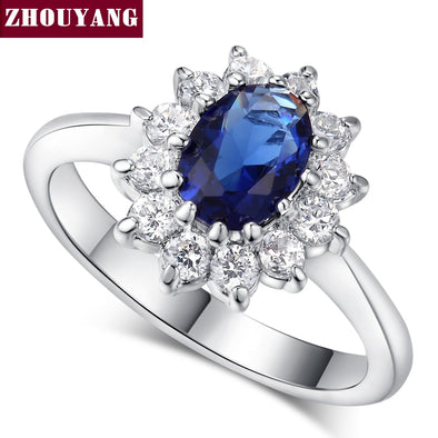 New ZHOUYANG Princess Kate Ring Blue Gem Created Blue Crystal Silver Color - BC&ACI