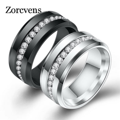 New ZORCVENS Black and Silver Titanium Stainless Steel Rings For women - BC&ACI