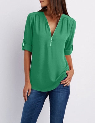 Zipper Short Sleeve Women Shirts Sexy V Neck Solid Womens Tops Blouses Casual Tee