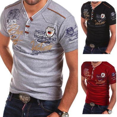 Zogaa Men Fashions T Shirt short sleeve solid color Personality Cultivating casual - BC&ACI