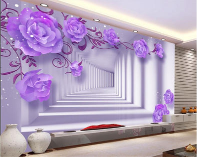 three-dimensional interior wallpaper purple elegant rose wallpaper