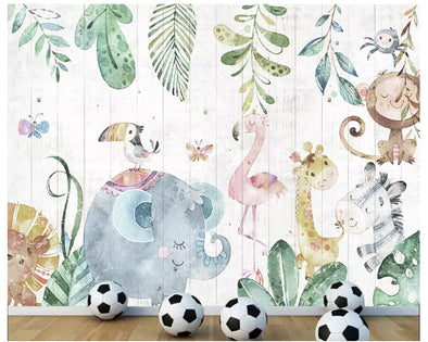 New Custom hand-painted forest animals wood grain wood wallpaper - BC&ACI