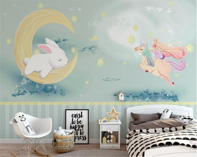 wallpaper Cute rabbit hand-drawn unicorn