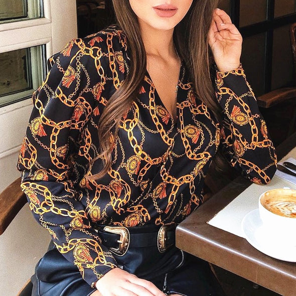 new fashion women password chain printed vintage blouse shirts female vogue high street