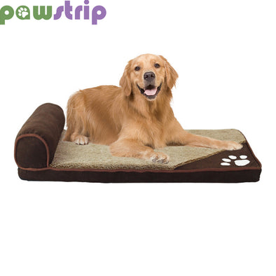 pawstrip 4 Colors Winter Dog Bed Soft Warm Cat Beds Washable Puppy Sofa Bed Detachable Pet Cushion For Large Dogs S-XL