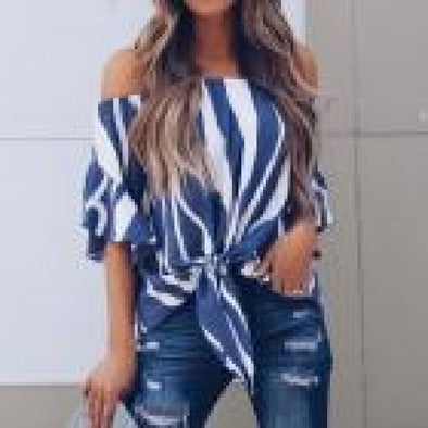 womens tops and blouses Striped Off Shoulder Waist Tie Blouse Short Sleeve Casual Slash
