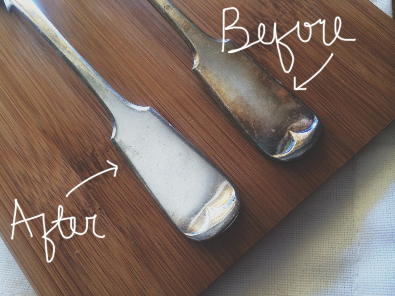 before and after cutlery with tarnish