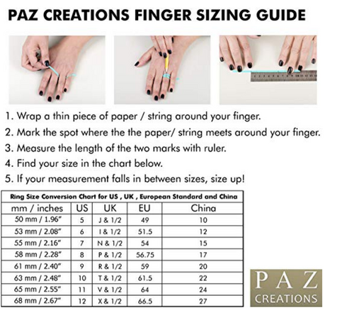 Paz Creations Ring Size Guide