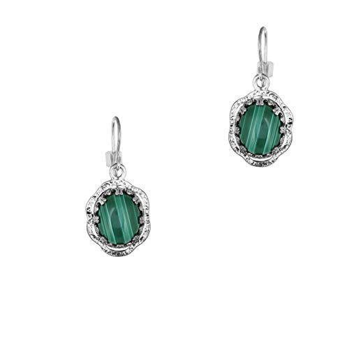 Sterling Silver Kyanite or Malachite Gemstone Dangle Earrings  - Paz Creations Jewelry