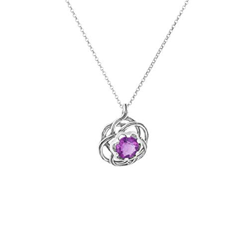 925 Sterling Silver Celtic Flower Gemstone  Pendant Necklace | 5.0ct Green or Purple Fluorite  - Paz Creations Jewelry