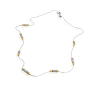 "Sterling Silver Scroll Design and Gold Bead Opera Station Necklace - 24"" inches  - Paz Creations Jewelry"