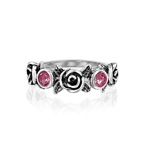 Sterling Silver Rose & Gemstone Band Ring  - Paz Creations Jewelry