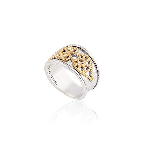 Two-Tone Sterling Silver and 14k Gold Over Silver Filigree Lace Design Ring  - Paz Creations Jewelry