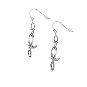 Sterling Silver Freeform Double-Cross Dangle Earrings  - Paz Creations Jewelry