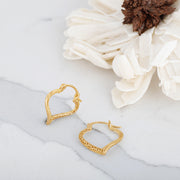 14k Gold Open-Heart Hoop Earrings For Women Girls - Snap Bar Closures For Pierced Ears  - Paz Creations Jewelry