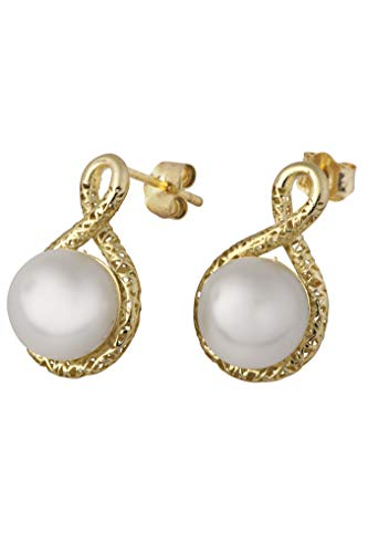 14k Gold 8.0mm Freshwater Cultured Pearl Love Knot Stud Earrings  - Paz Creations Jewelry